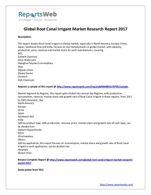 Market Analysis 2022 Forecast: Global Root Canal Irrigant Industry