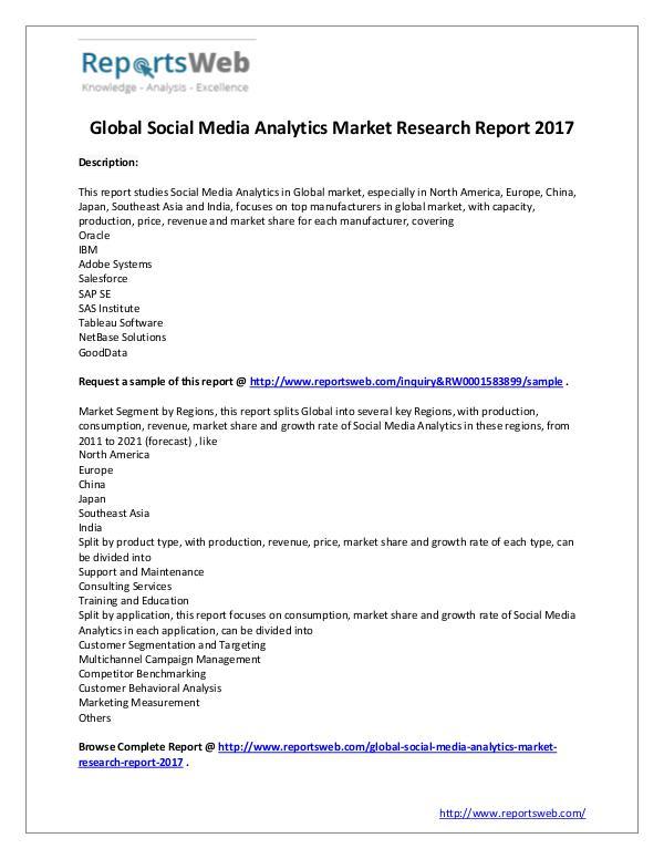 Market Analysis 2017 Analysis: Social Media Analytics Market