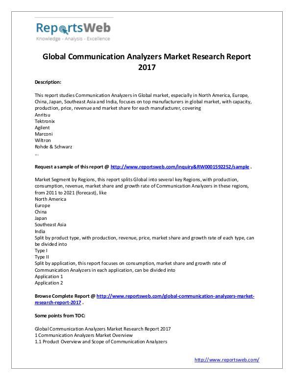 Market Analysis 2017 Communication Analyzers Market