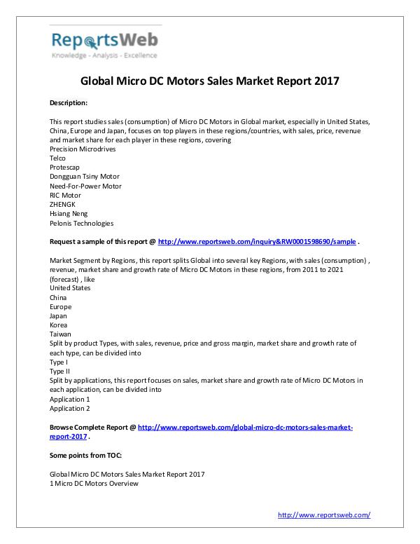 Market Analysis 2017 Global Micro DC Motors Sales Market