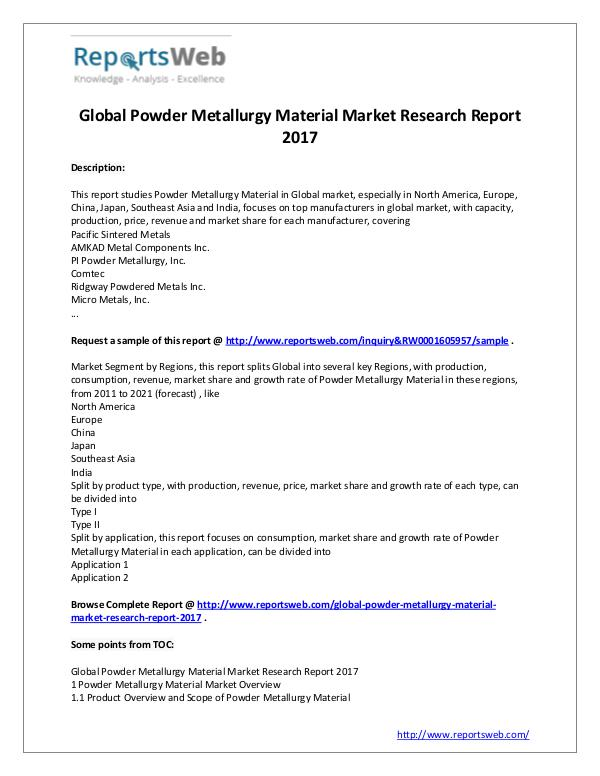 Market Analysis Powder Metallurgy Market - Global Trends Study