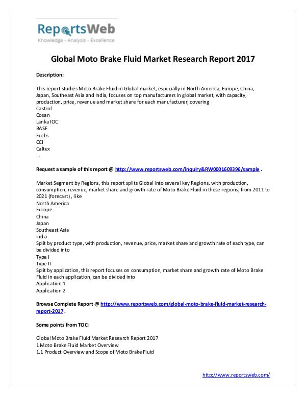Market Analysis 2017 Study - Global Moto Brake Fluid Market