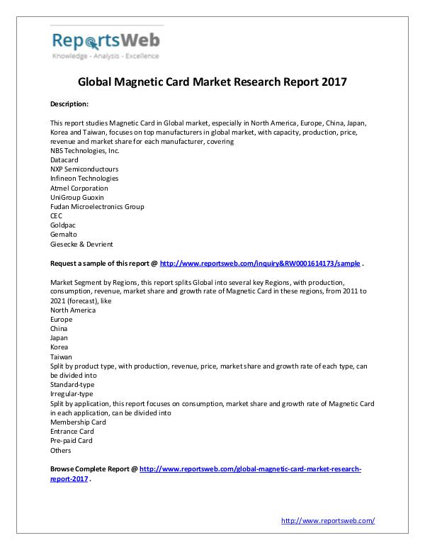 Market Analysis Magnetic Card Market - Global Research Report 2017