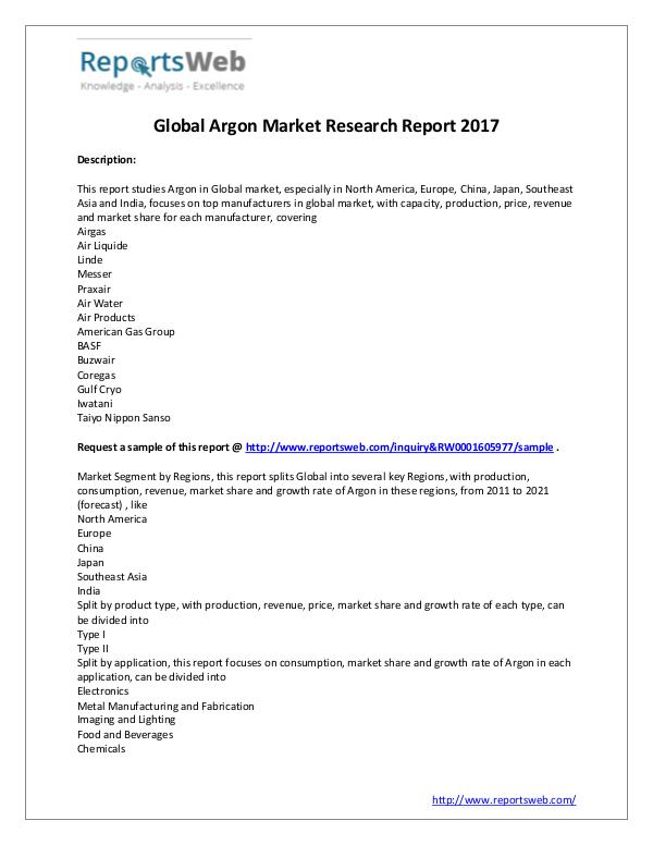 Market Analysis Argon Industry – Global Analysis 2017