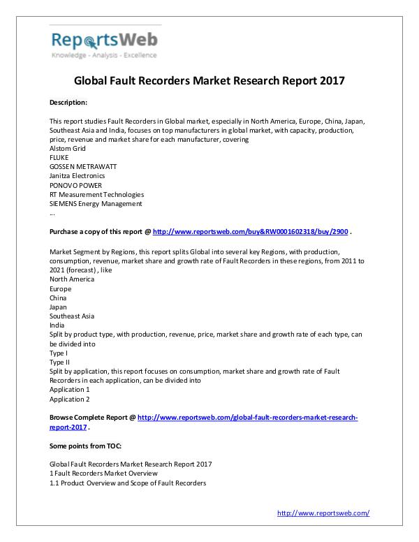 Market Analysis Global Fault Recorders Market Overview 2017-2022