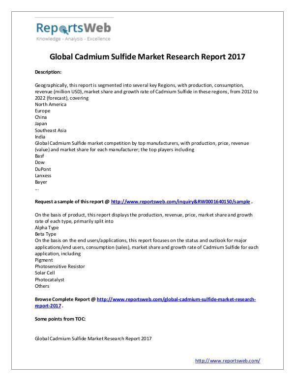 Market Analysis 2017 New Study: Global Cadmium Sulfide Market