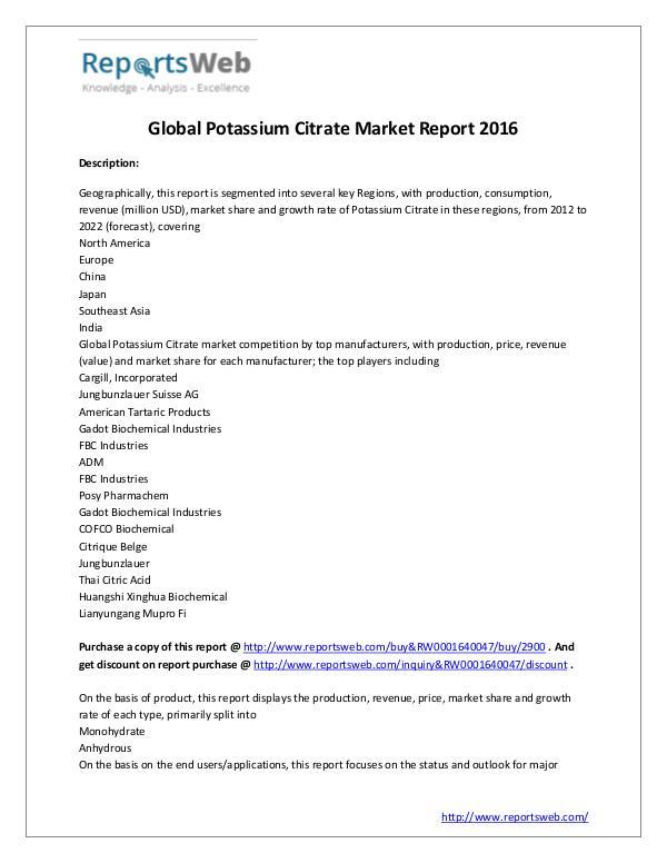 Market Analysis New Study: 2017 Global Potassium Citrate Market