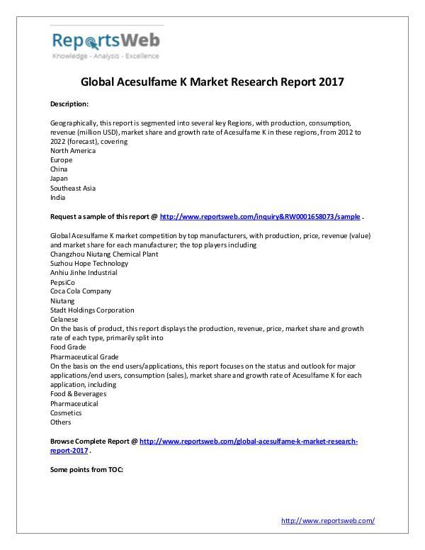 Market Analysis Acesulfame K Market Global Analysis
