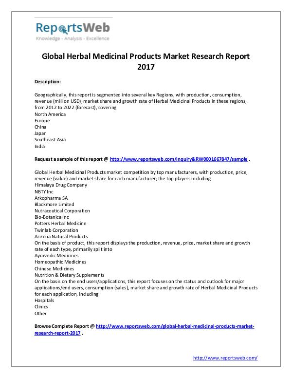 Market Analysis Herbal Medicinal Products Market 2017
