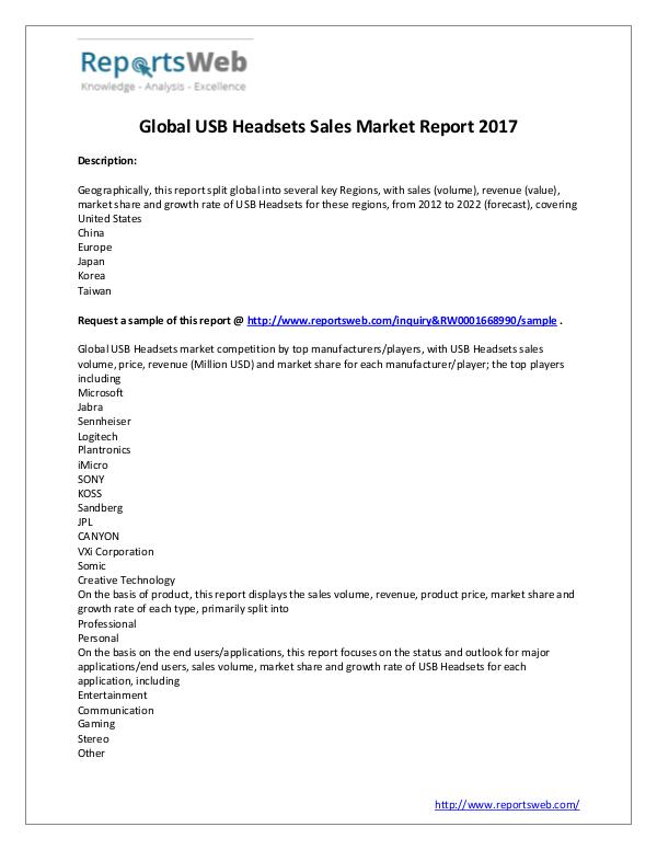 Market Analysis Global Market Share of USB Headsets Sales Market