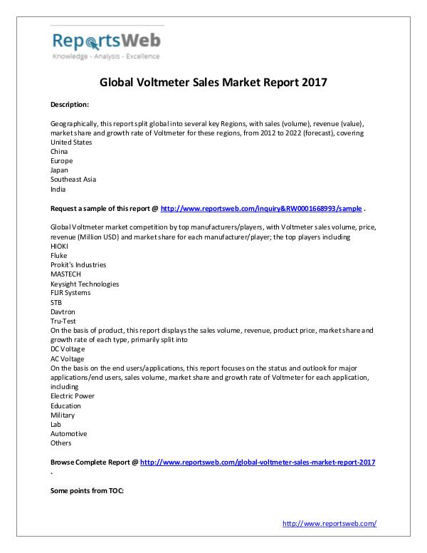 Market Analysis New Study: 2017 Global Voltmeter Sales Market