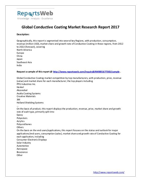 Market Analysis New Study: 2017 Global Conductive Coating Market