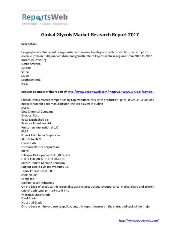 Market Analysis New Study: 2017 Global Glycols Market