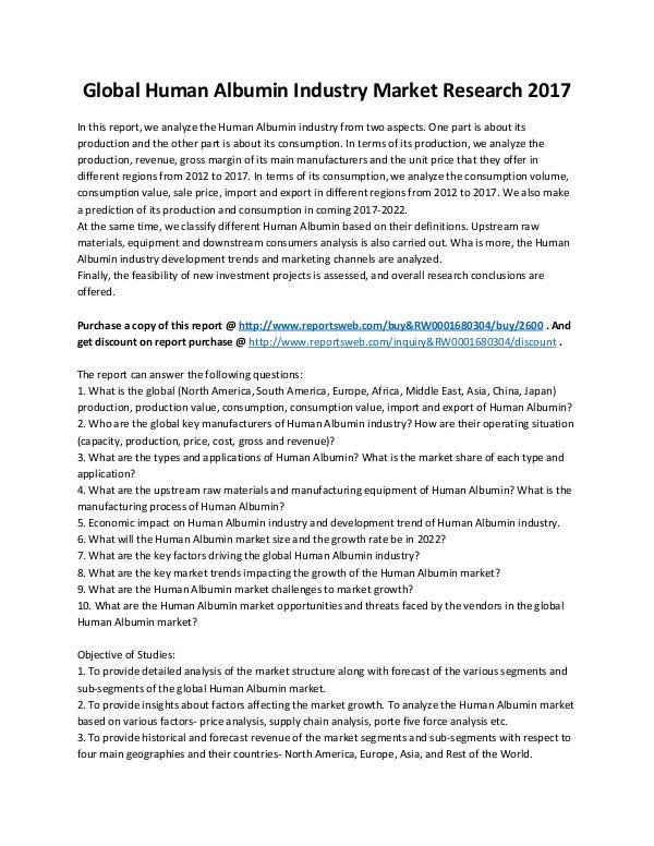 Market Analysis Human Albumin Market 2017-2022 - ReportsWeb
