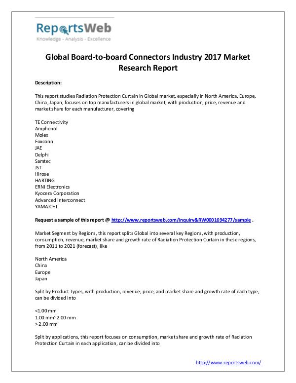 Market Analysis 2017 Global Board-to-board Connectors Market