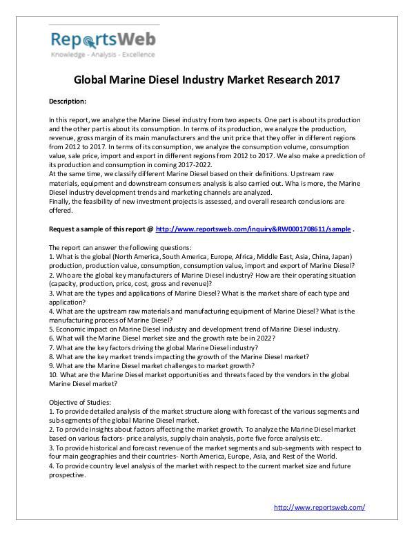 Market Analysis Marine Diesel Market - Global Trends Study