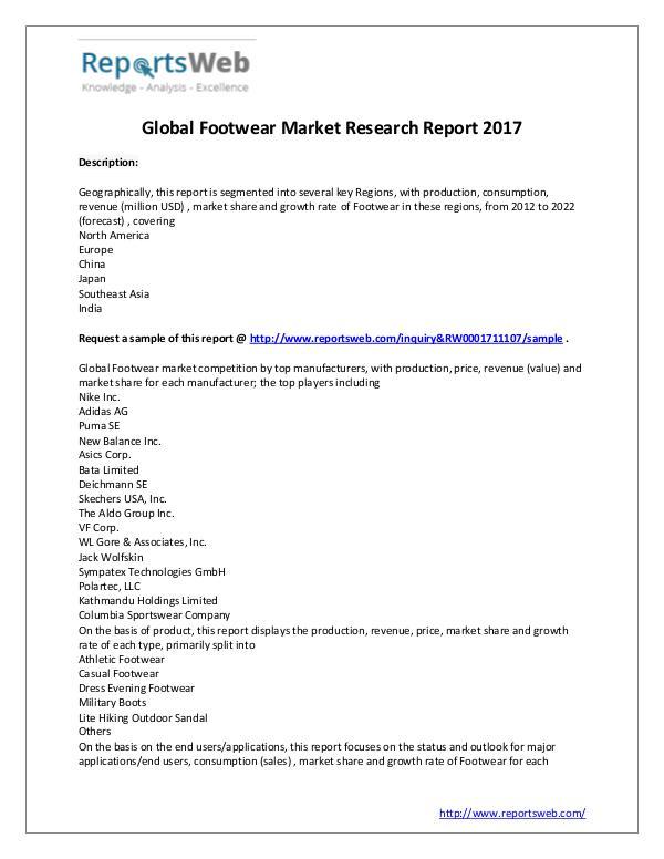 Market Analysis 2017 Analysis: Footwear Market Report