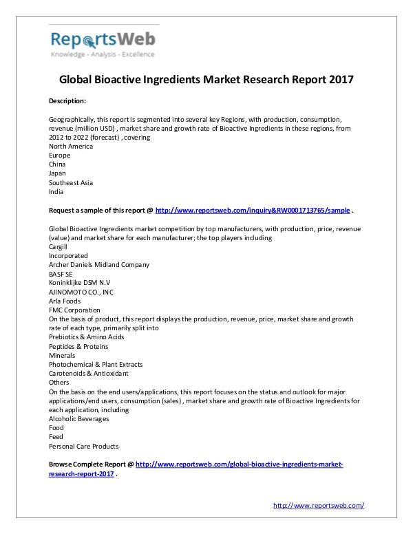 Market Analysis 2017 Study - Global Bioactive Ingredients Market