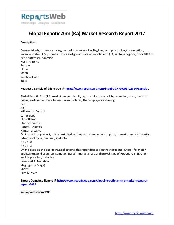 Market Analysis Robotic Arm (RA) Market 2017-2022 Report