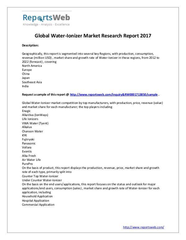 Market Analysis 2017 Study: Global Water-Ionizer Industry