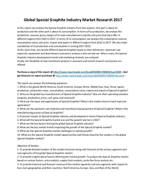 Market Analysis 2017 Analysis: Special Graphite Market Report