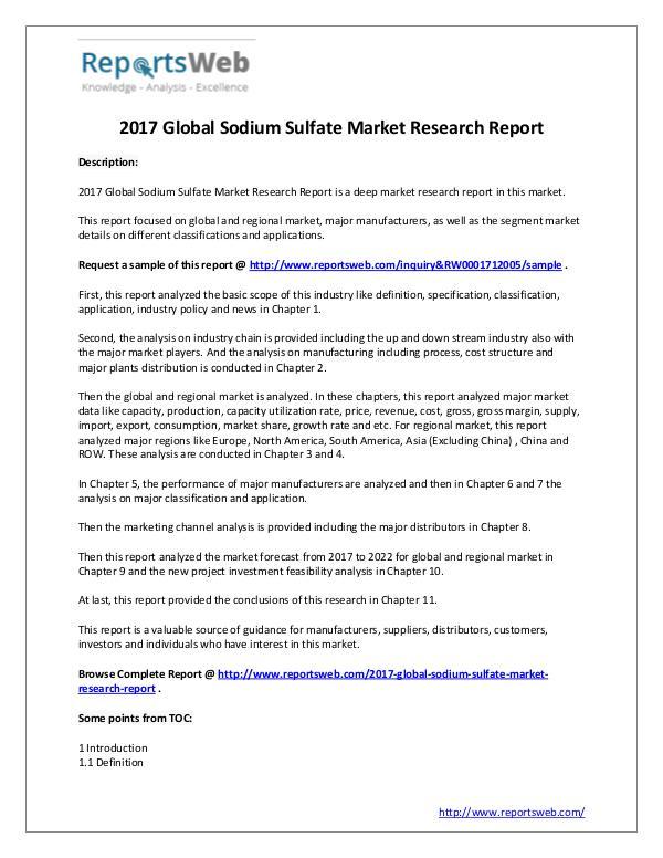 Market Analysis Sodium Sulfate Industry – Global Analysis 2017