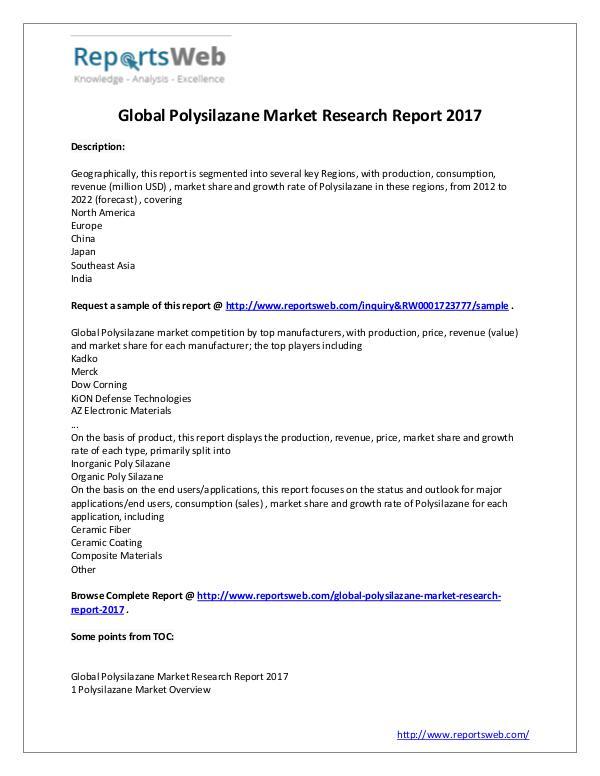 Market Analysis Polysilazane Market Growth & Development