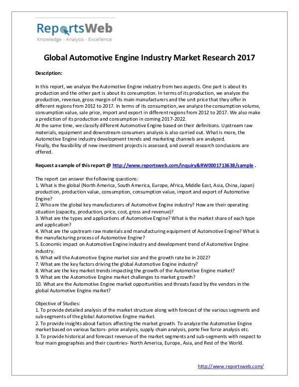 Market Analysis SWOT Analysis of Global Automotive Engine Market