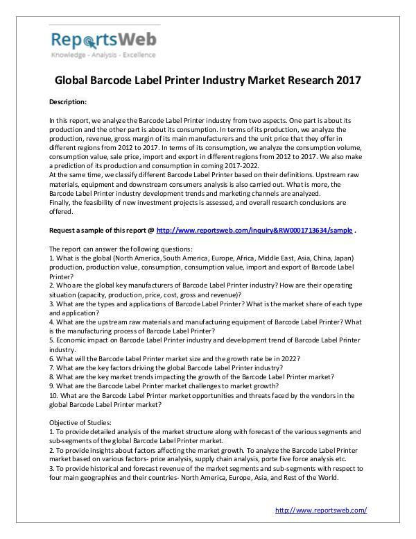 Market Analysis 2017 Study - Global Barcode Label Printer Market