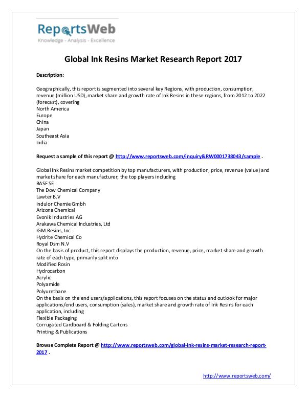 Market Analysis 2017 Analysis: Global Ink Resins Industry