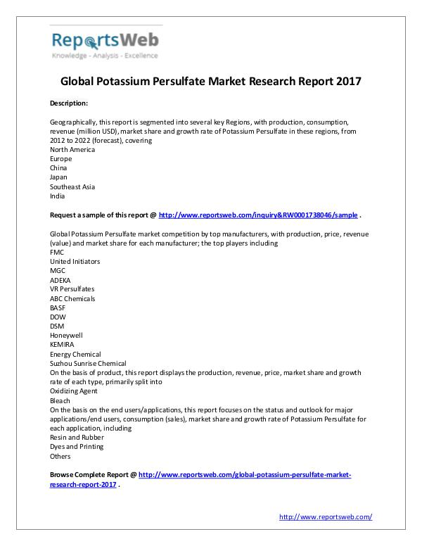 Market Analysis 2017 Study - Global Potassium Persulfate Market