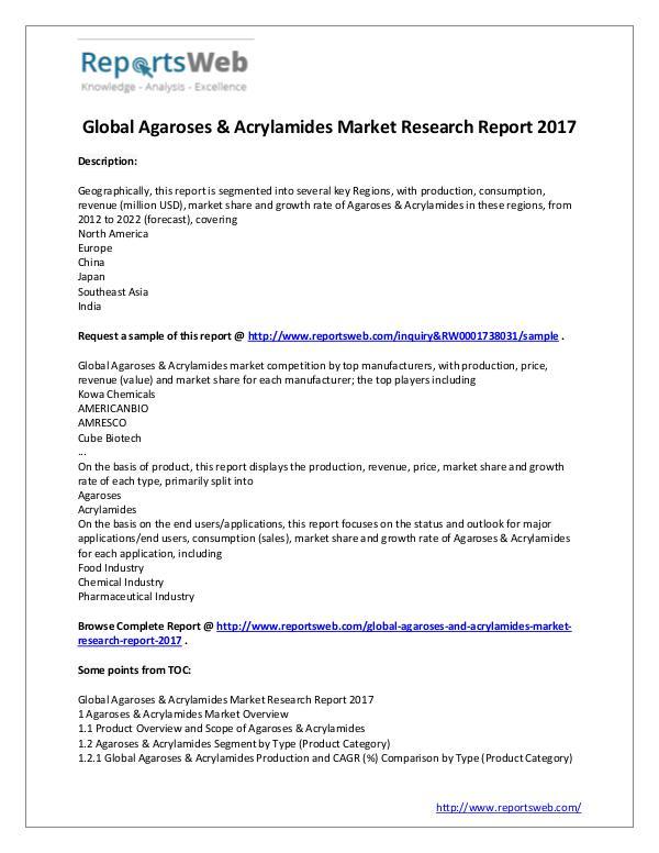 Market Analysis 2017 Study - Global Agaroses & Acrylamides Market
