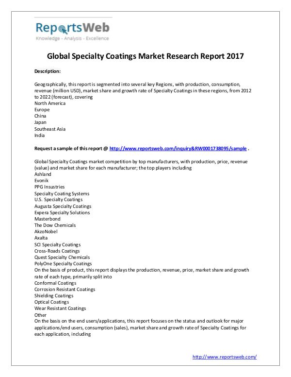 Market Analysis Global Market Size of Specialty Coatings Industry