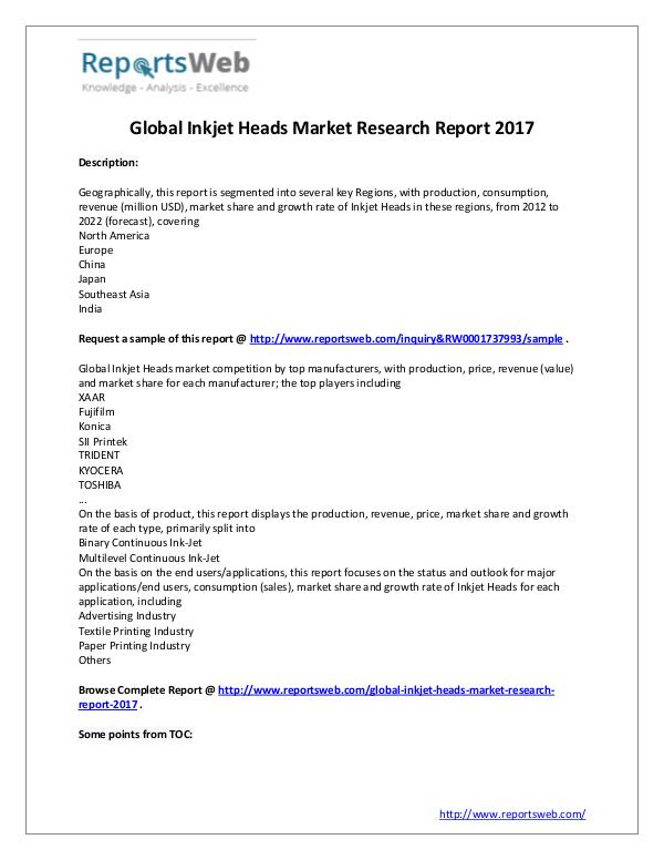 Market Analysis 2017 Study - Global Inkjet Heads Market