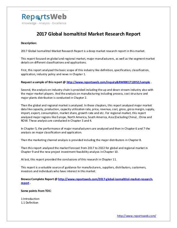 Market Analysis Isomaltitol Industry 2017