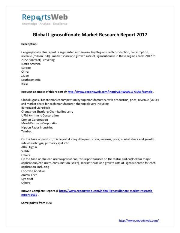 Market Analysis New Study: 2017 Global Lignosulfonate Market