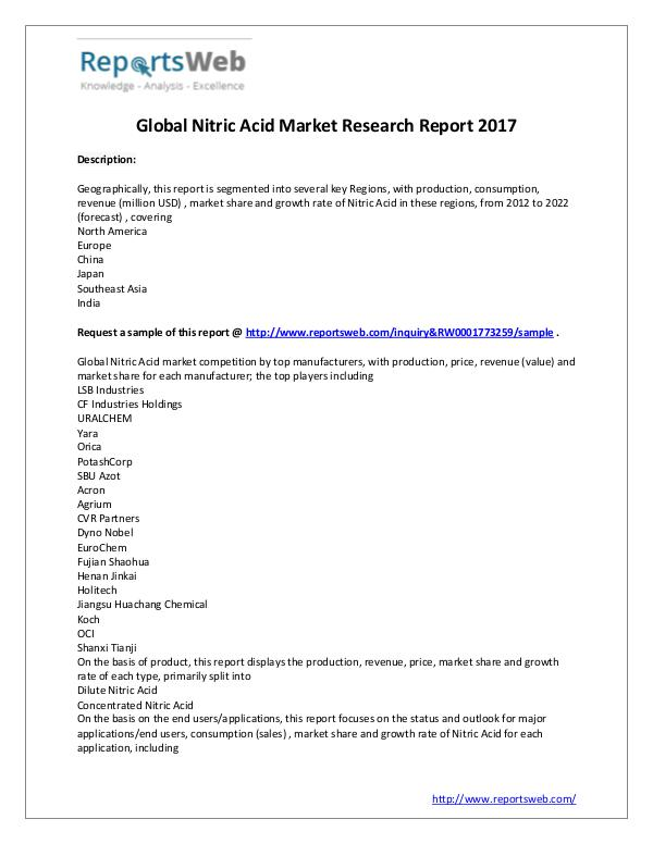 Market Analysis New Study: 2017 Global Nitric Acid Market