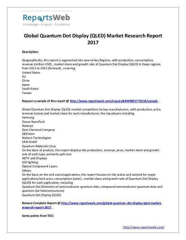 Market Analysis 2017 Global Quantum Dot Display (QLED) Market
