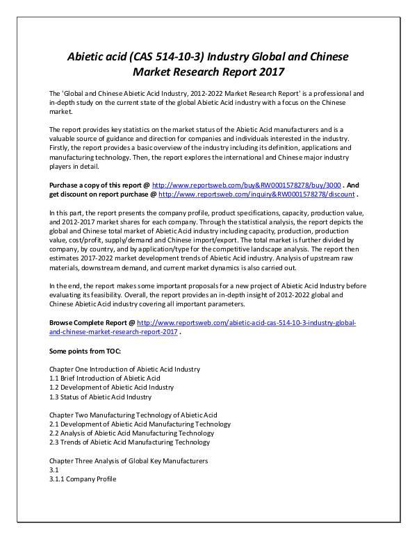 Market Analysis Global Market Size of Abietic Acid Industry 2017