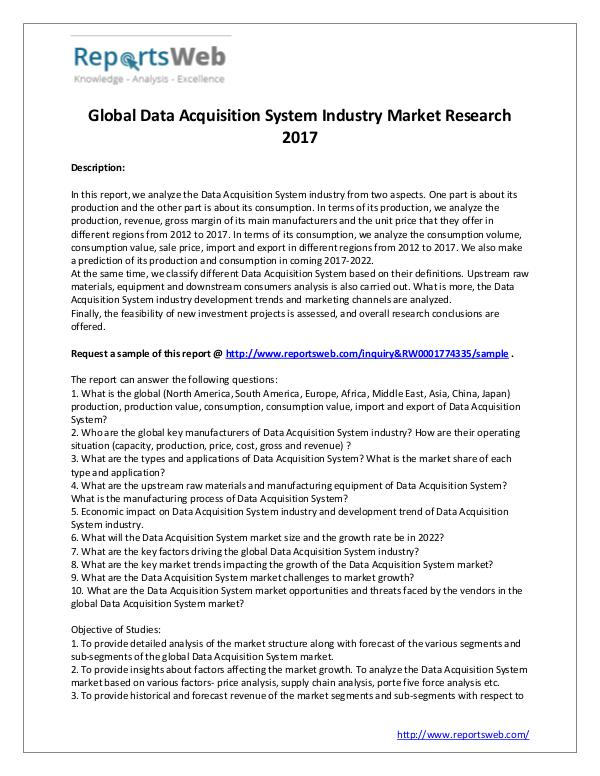 Market Analysis 2017 Study - Global Data Acquisition System Market