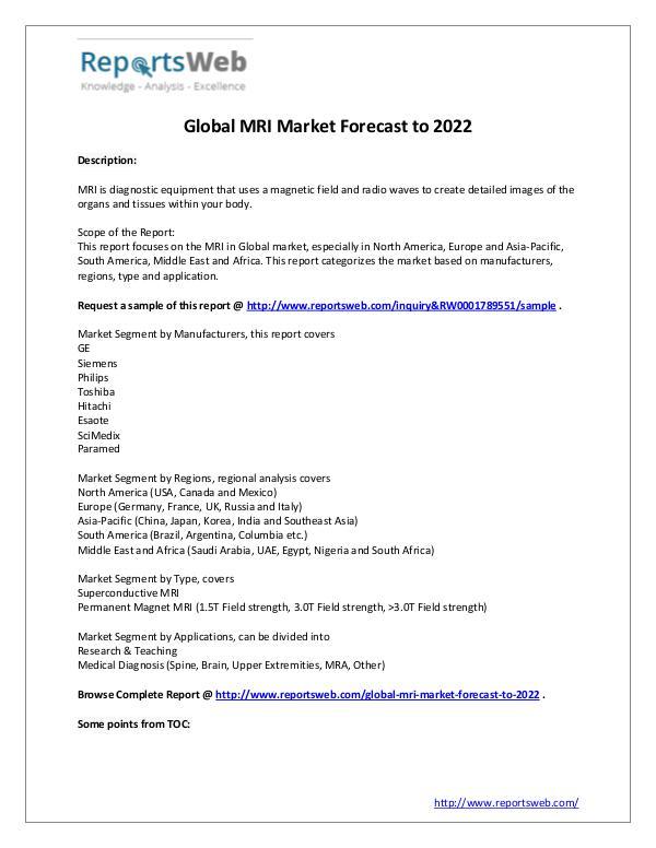 Market Analysis MRI Industry Analysis 2017 – ReportsWeb
