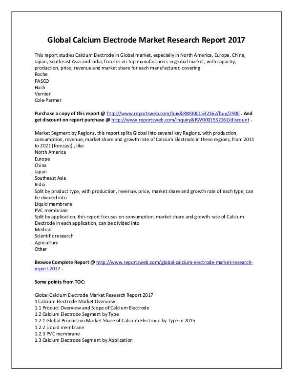 Market Analysis 2017 Study - Global Calcium Electrode Market