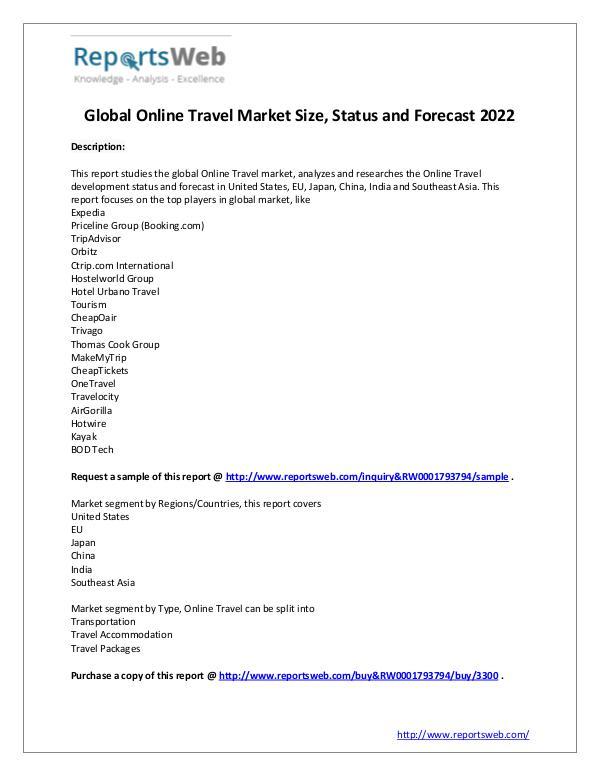 Market Analysis SWOT Analysis of Global Online Travel Market 2017