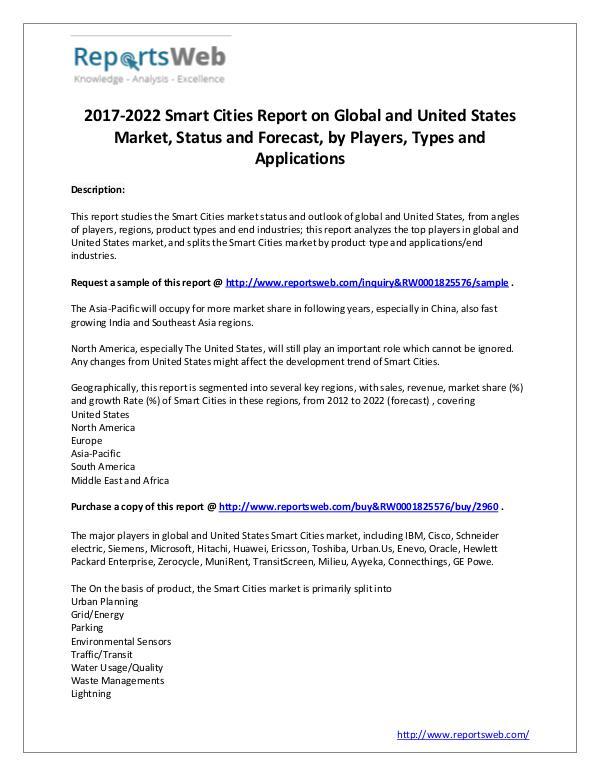 Market Analysis 2017 Development of Smart Cities Industry