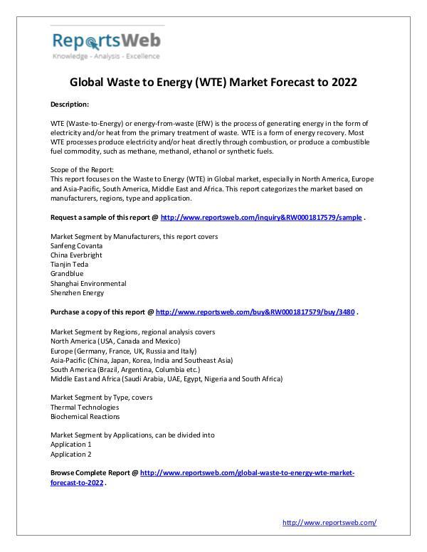 Market Analysis 2017 Study - Global Waste to Energy Market