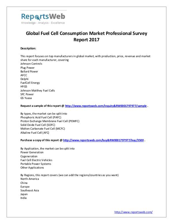 Market Analysis 2017 Study - Global Fuel Cell Market Consumption