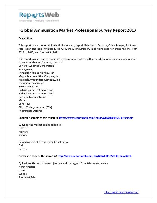 Market Analysis 2017 Study - Global Ammunition Market