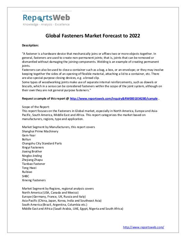 Market Analysis 2017 Development of Fasteners Industry