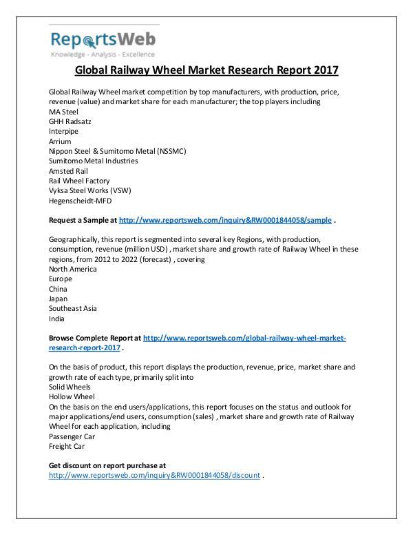 Market Analysis 2017 Study - Global Railway Wheel Industry