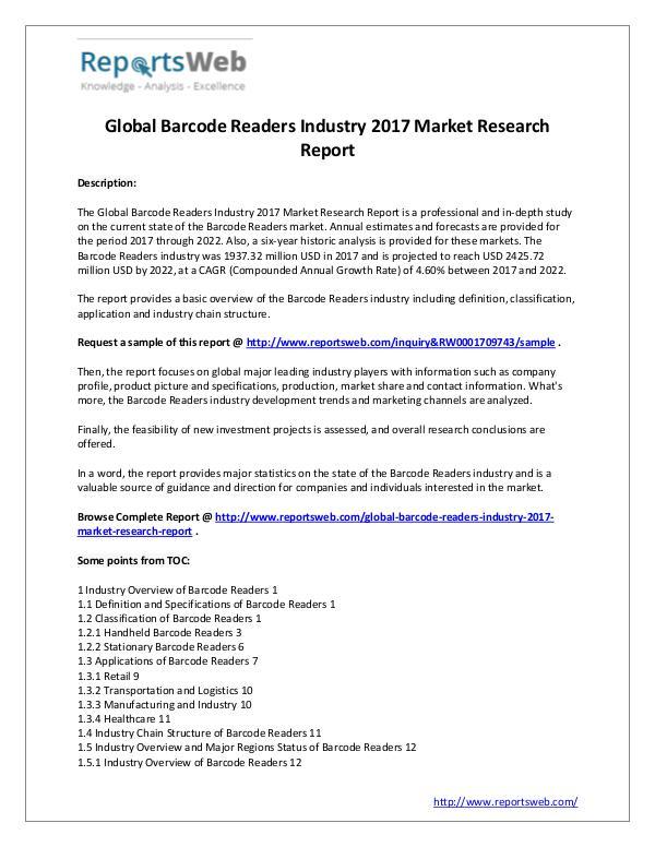 Market Analysis 2017 Study - Global Barcode Readers Market